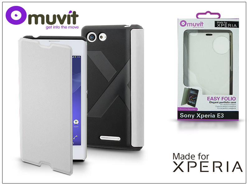 Sony Xperia E3 (D2203) flipes tok - Made for Xperia Muvit Easy Folio - white