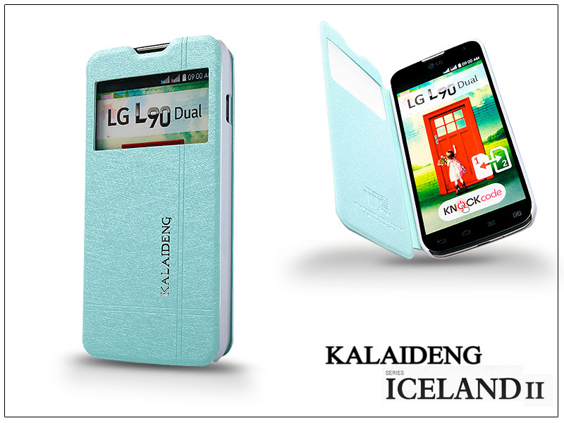 LG L90 D405 flipes tok - Kalaideng Iceland 2 Series View Cover - turquoise blue